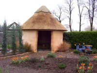 Click the picture for more on the Gardening Which? Strawbale African style hut and strawbale walled garden