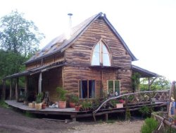 Strawbale house in the woods